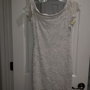 Ambiance White Lace Off the Shoulder Dress Size M